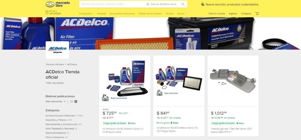 Mercado Libre tienda oficial ACDelco