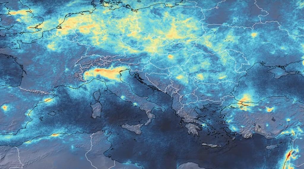 ESA enseñó una imagen donde se muestra la baja de contaminación en Europa.